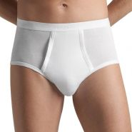 Cotton Pure Full Briefs with Fly - Men's-White-XXL
