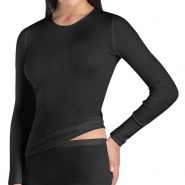 Woolen Silk Round Neck Long Sleeve T-Shirt - Women's