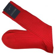 Egyptian Cotton Rib Mid-Calf Socks - Men's-Rosso Red 013-43-44