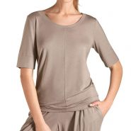 Yoga 3/4 Sleeve Top - Women's-Taupe-L