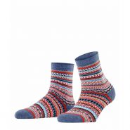 Digital Fair Isle Socks  Women's-Dark Blue Melange-36-41