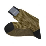 Houndstooth Egyptian Cotton Socks - Men's-Dark Blue/Salvia Green-43-44