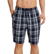 Mix & Relax Plaid Long Woven Boxers - Men's-Dark Blue Check-S